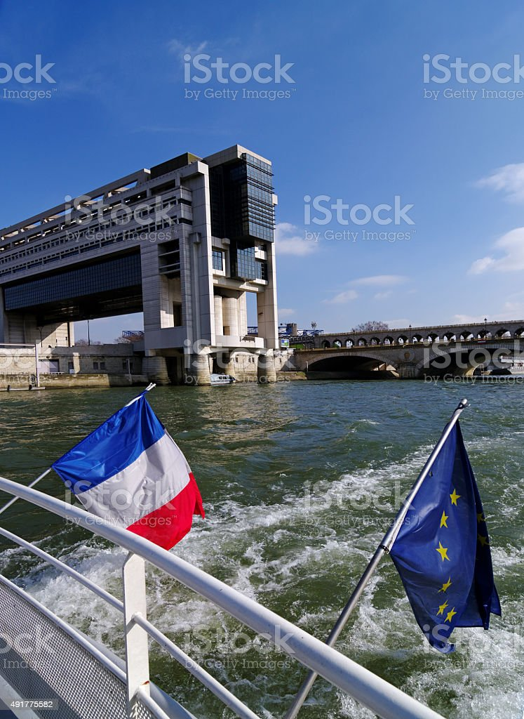 Bercy ministry of economy and flag of Europe stock photo