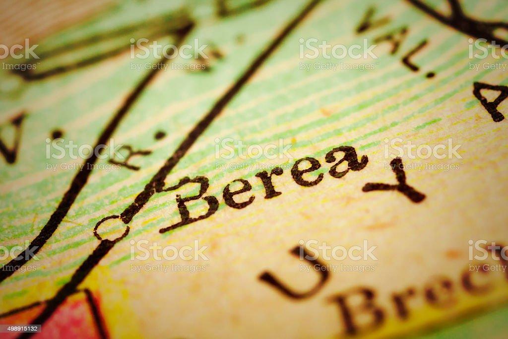 Berea, Ohio on an Antique map stock photo
