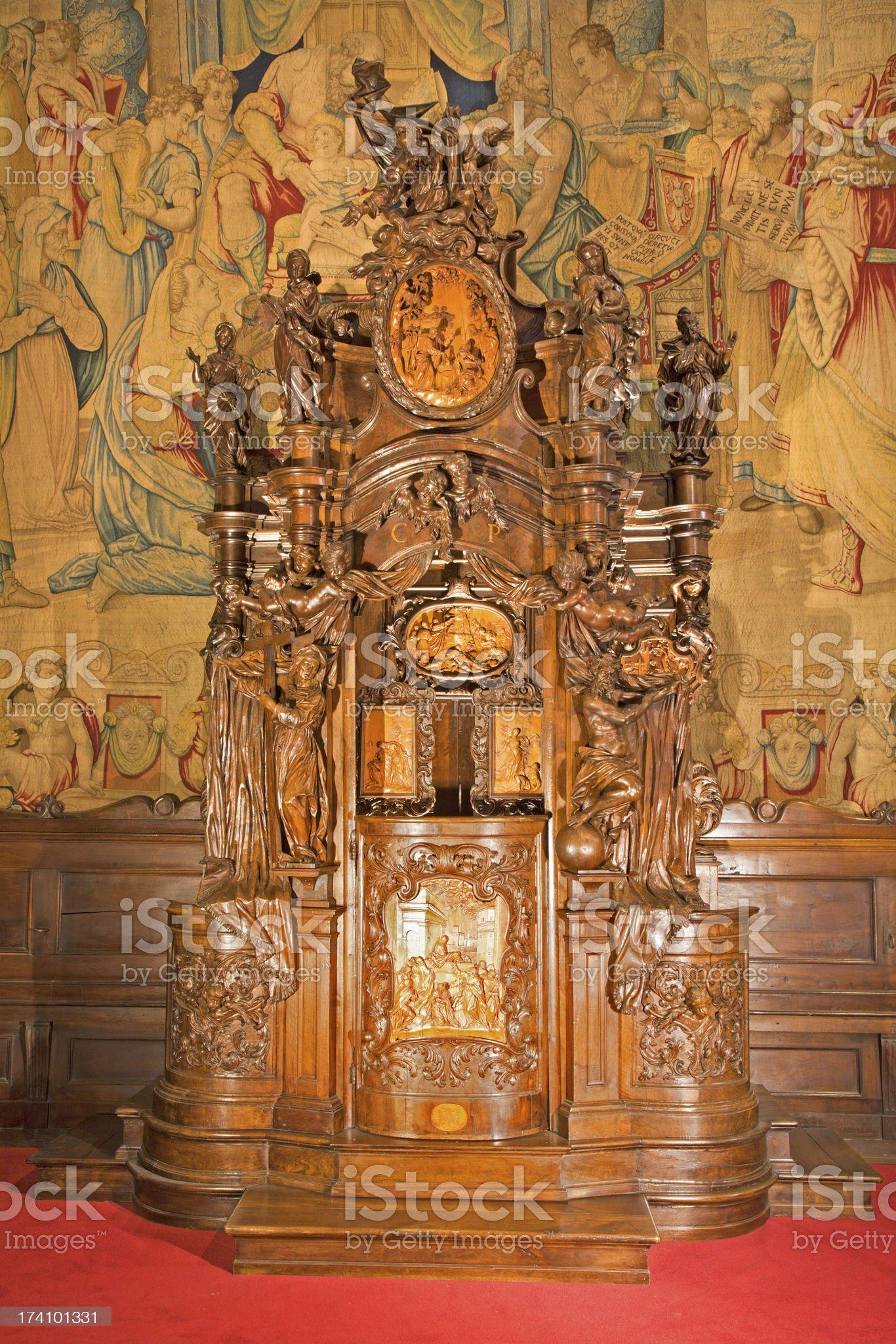 Bergamo - Baroque confession box from cathedral Santa Maria Maggiore royalty-free stock photo
