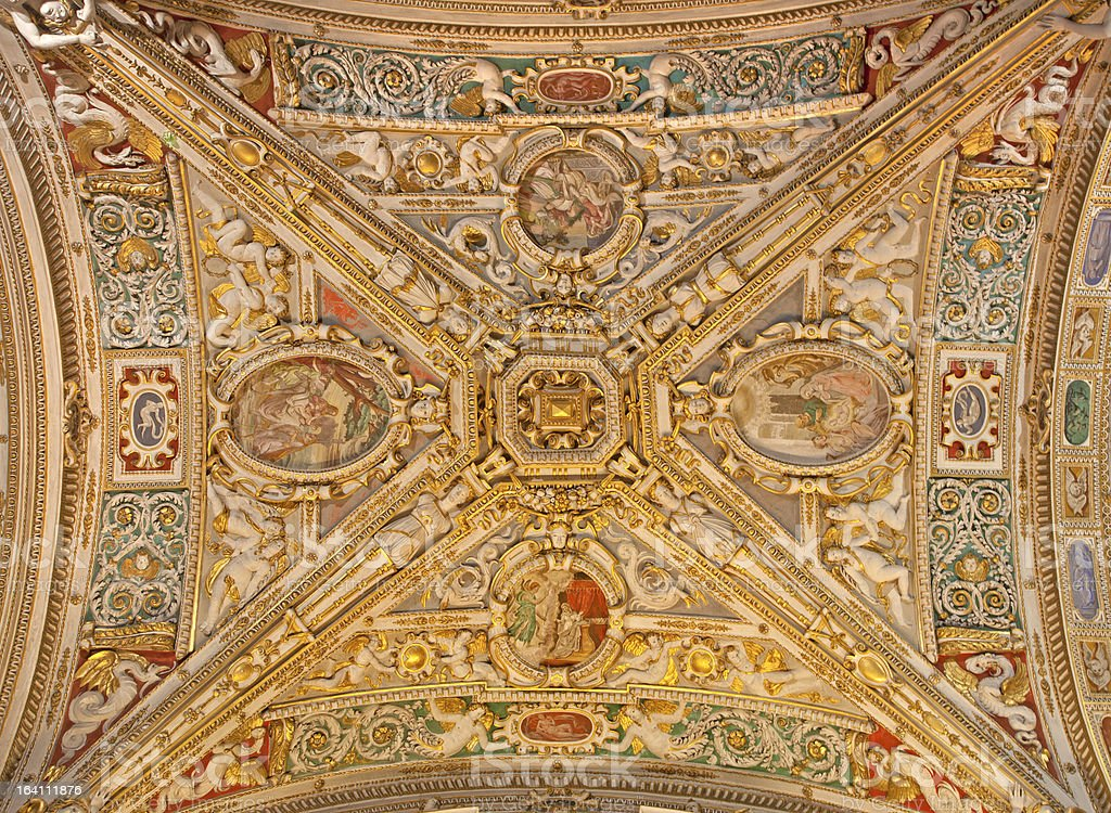 Bergamo - Ceiling of side nave from cathedral royalty-free stock photo