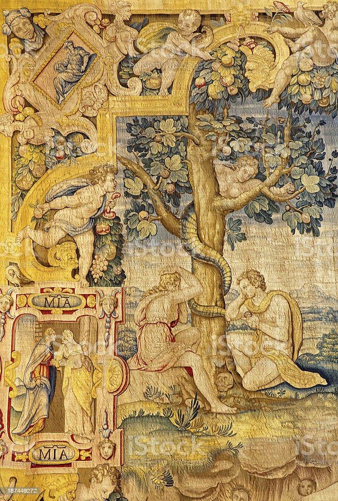 Bergamo - Gobelin of Adam and Eva in the Paradise. stock photo