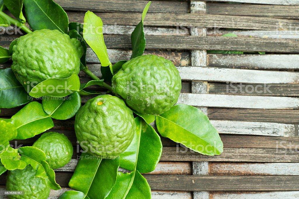 Bergamot fruit with leaf stock photo