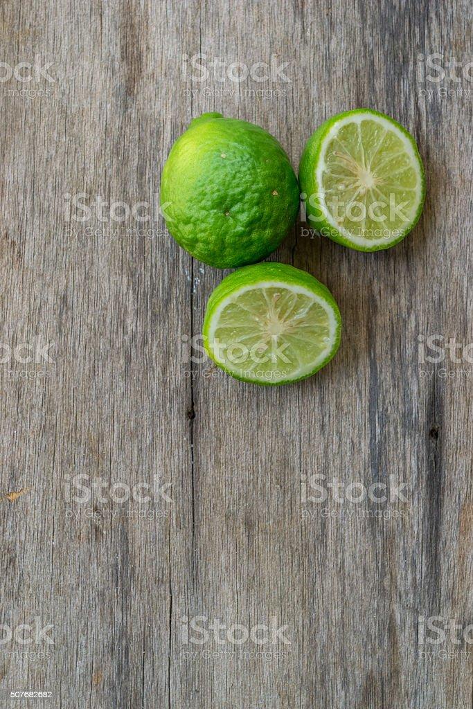 Bergamot on wood background stock photo