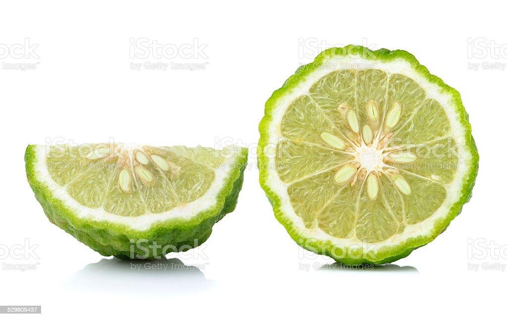 bergamot slice isolated on white background stock photo