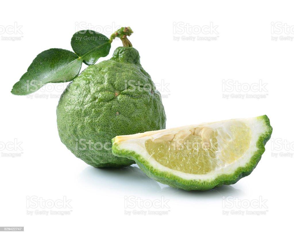 Bergamot[Kaffir lime] isolate on whit background stock photo