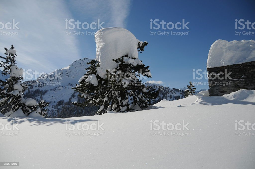 Bergell with a lot of snow royalty-free stock photo