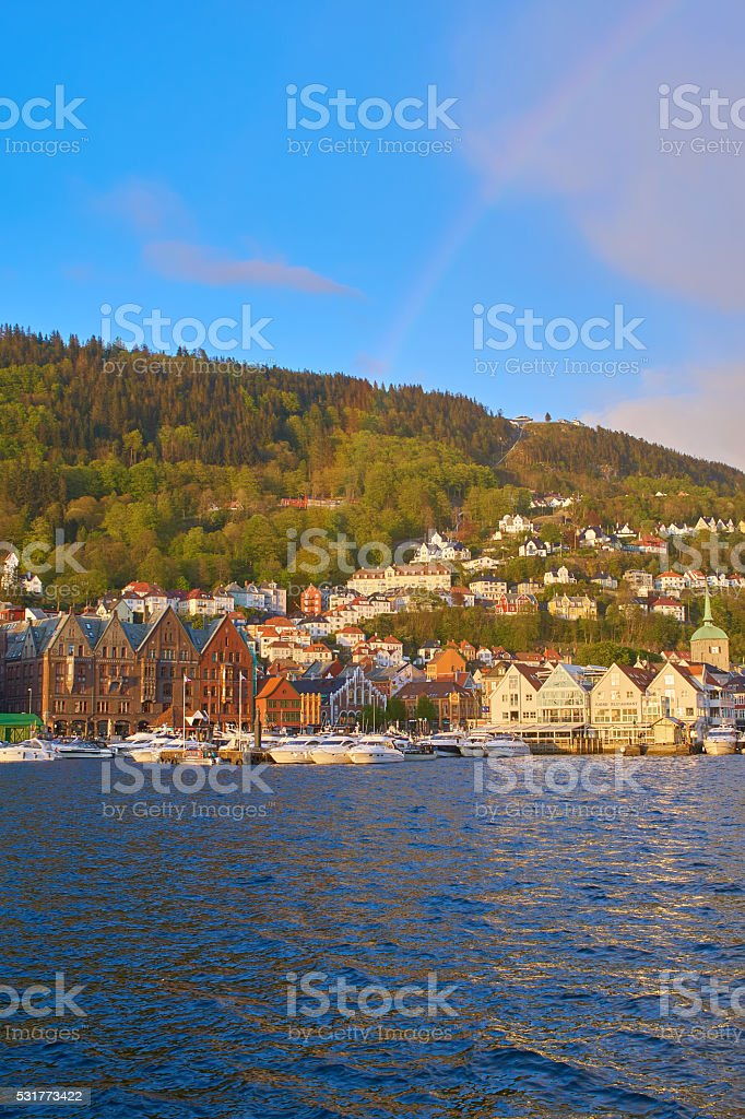 Bergen afternoon with rainbow stock photo