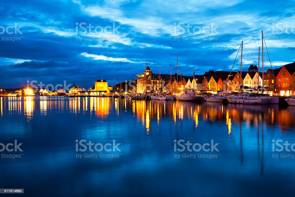 Bergen at night, panoramic view stock photo
