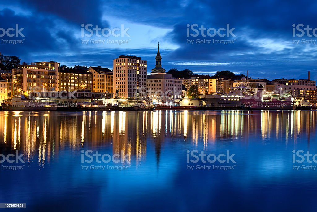 Bergen city in Norway at night stock photo