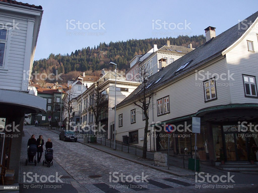 Bergen city, Norway traditional wood housing royalty-free stock photo