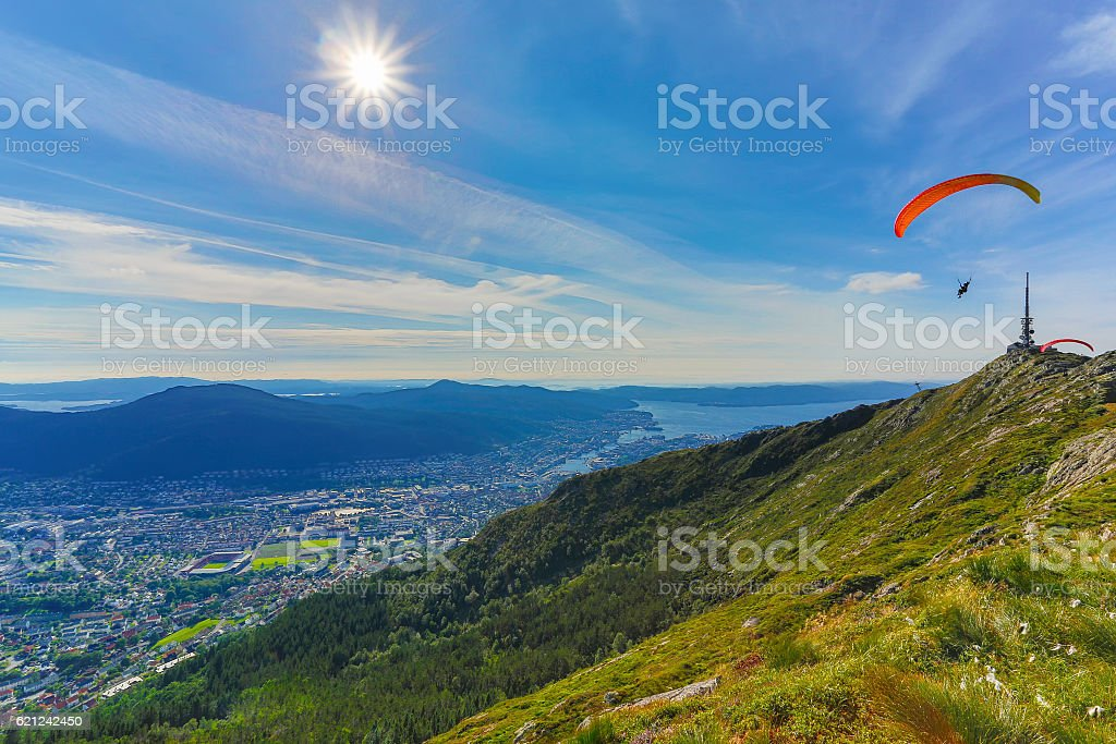 Bergen city view from Mount Ulriken stock photo