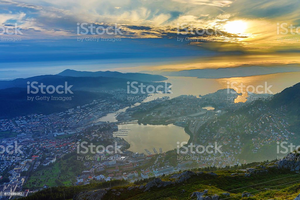 Bergen city view. stock photo