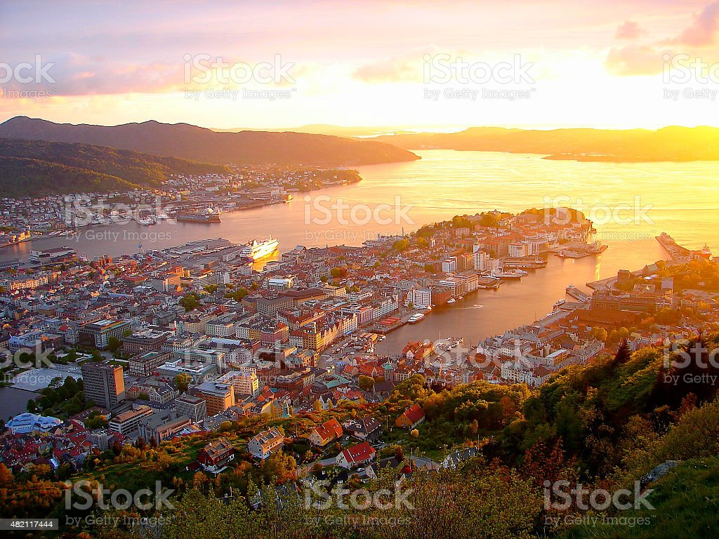 Bergen, fjords gateway panorama, dramatic sunset, Norway, Nordic countries stock photo