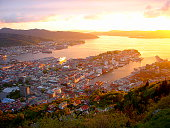 Bergen, fjords gateway panorama, dramatic sunset, Norway, Nordic countries