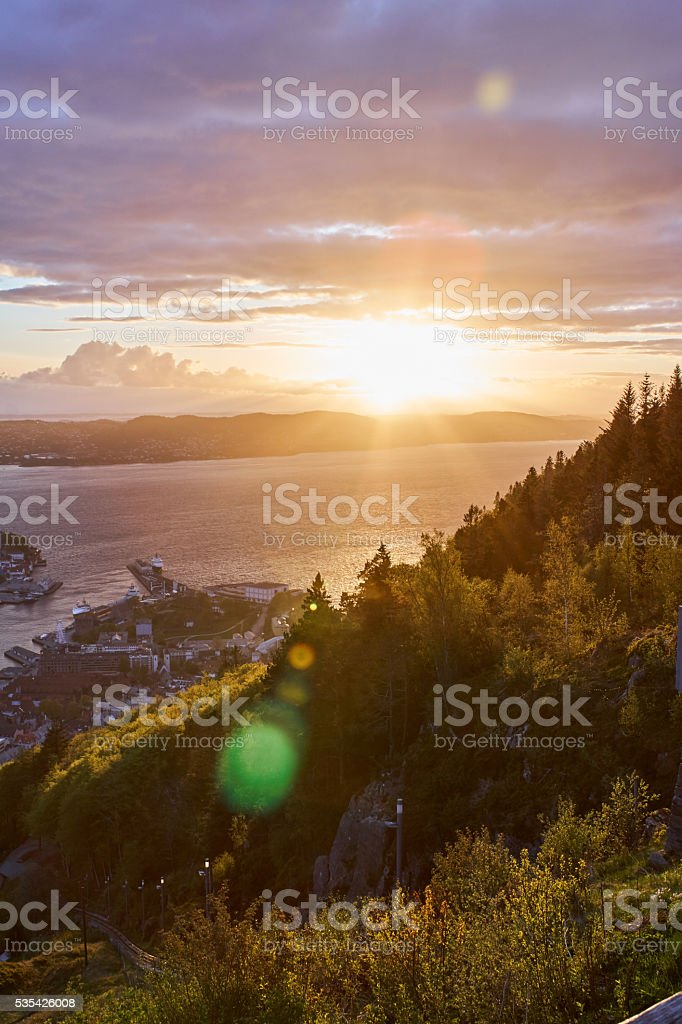 Bergen from Floyen amazing sunset stock photo
