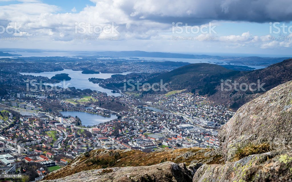 Bergen from highest point stock photo