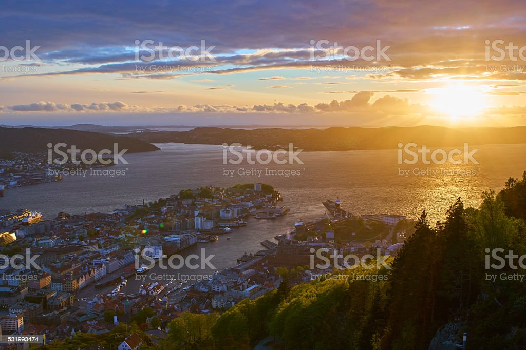 Bergen from the mountain amazing sunset stock photo