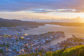 Bergen from the mountain amazing sunset