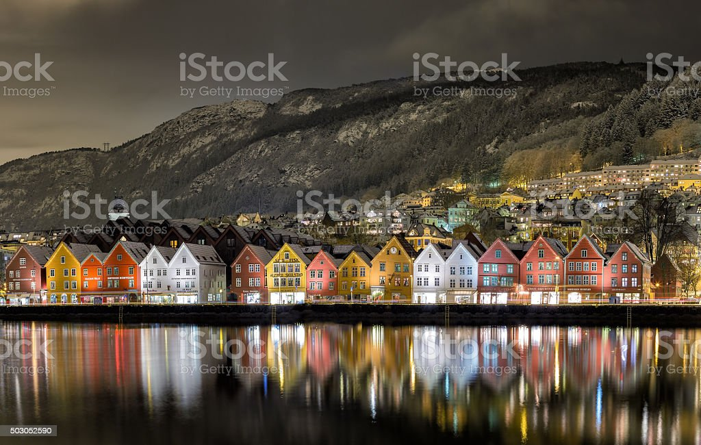 Bergen Harbor View stock photo