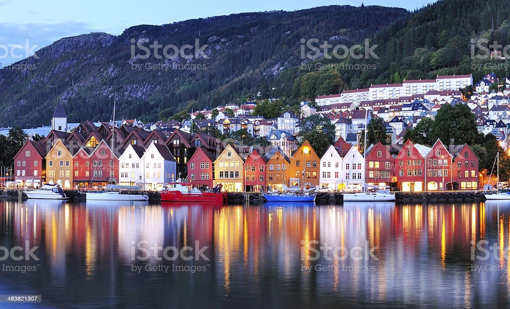Bergen Night Scenery Norway stock photo