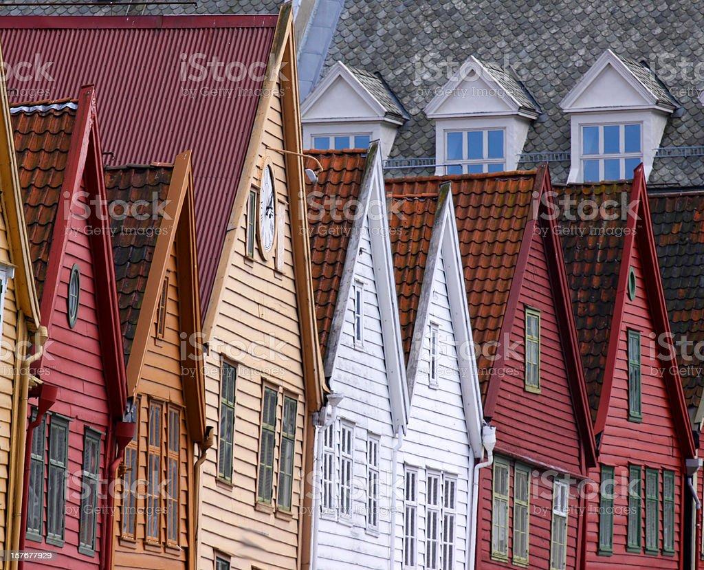 Bergen norway bryggen area Unesco World Heritage stock photo
