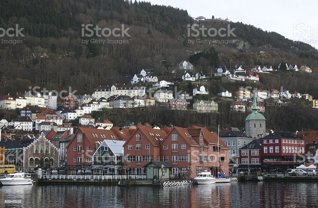 Bergen Norway, city view across the harbour royalty-free stock photo