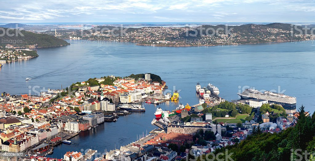 Bergen Norway Harbor stock photo