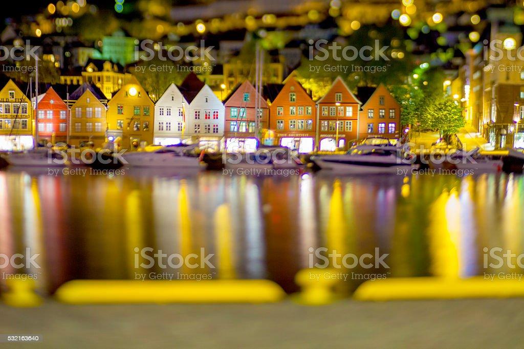 Bergen port houses in nightshot stock photo