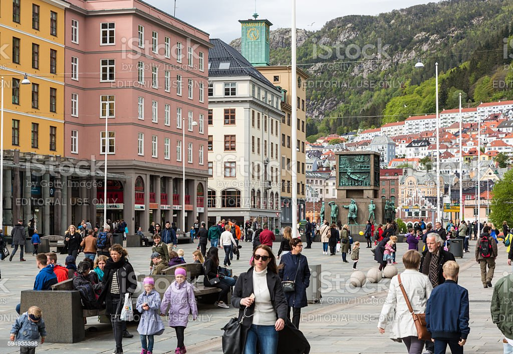 Bergen shopping district stock photo