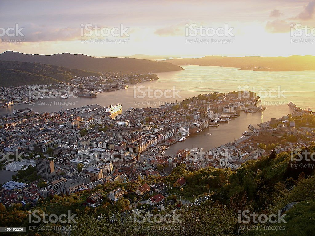 Bergen skyline fjord sea Panorama at sunset, Norway, Scandinavia stock photo