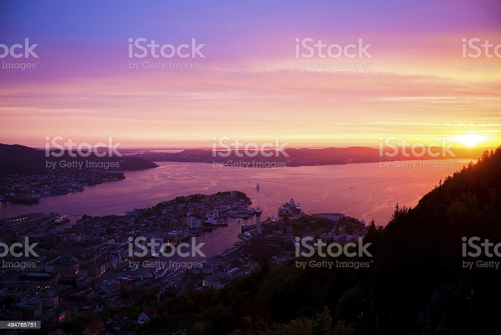 Bergen Sunset stock photo