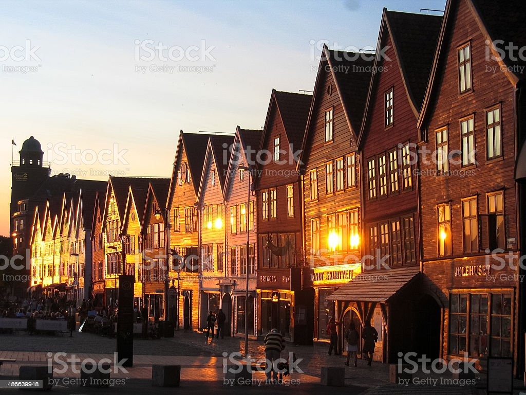 Bergen typical  woodden houses at sunset stock photo