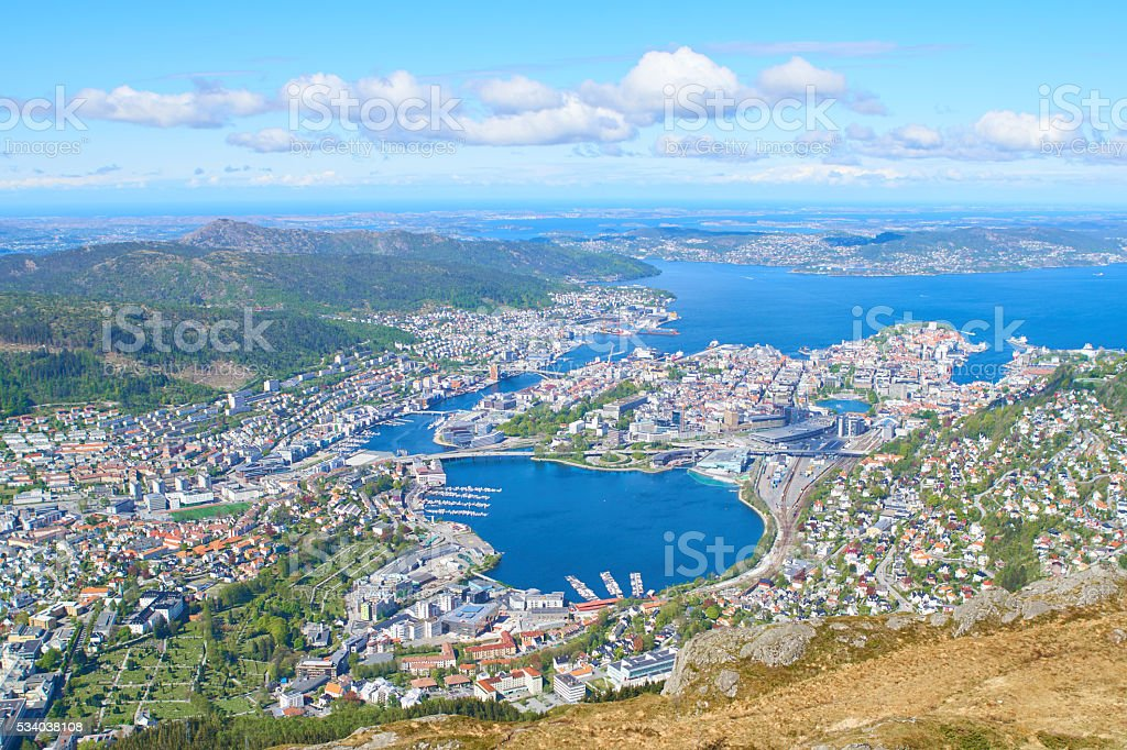 Bergen views from Ulriken mountain stock photo