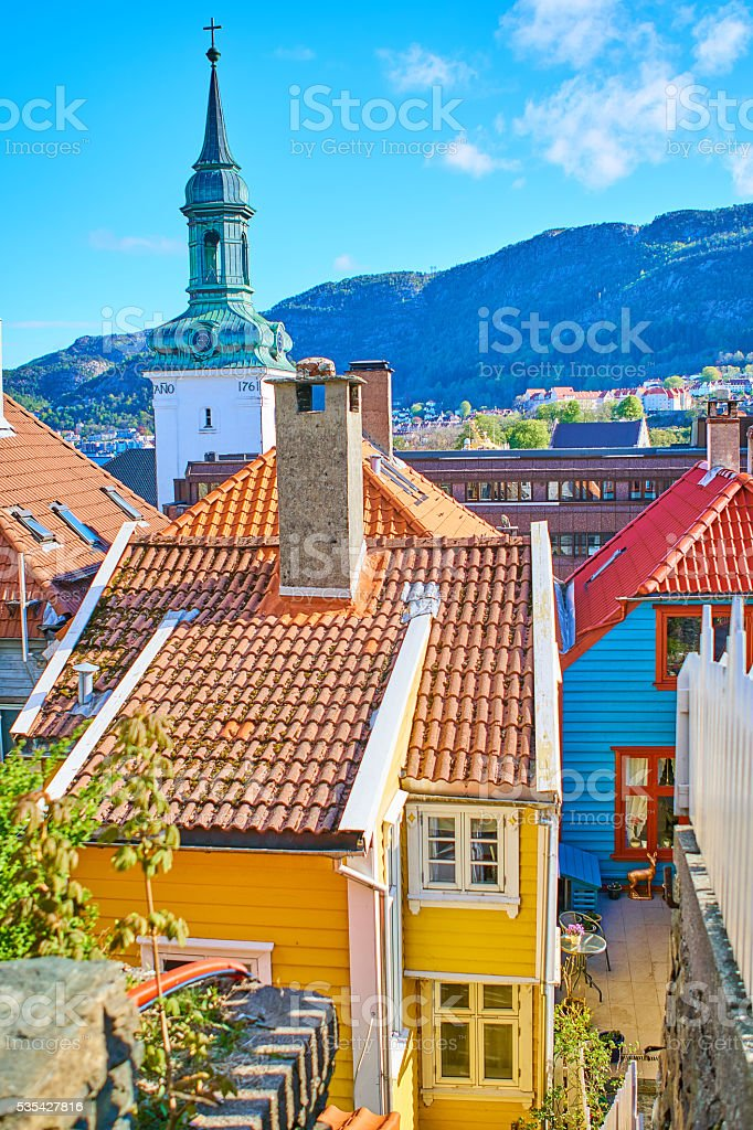 Bergen's colorful houses stock photo