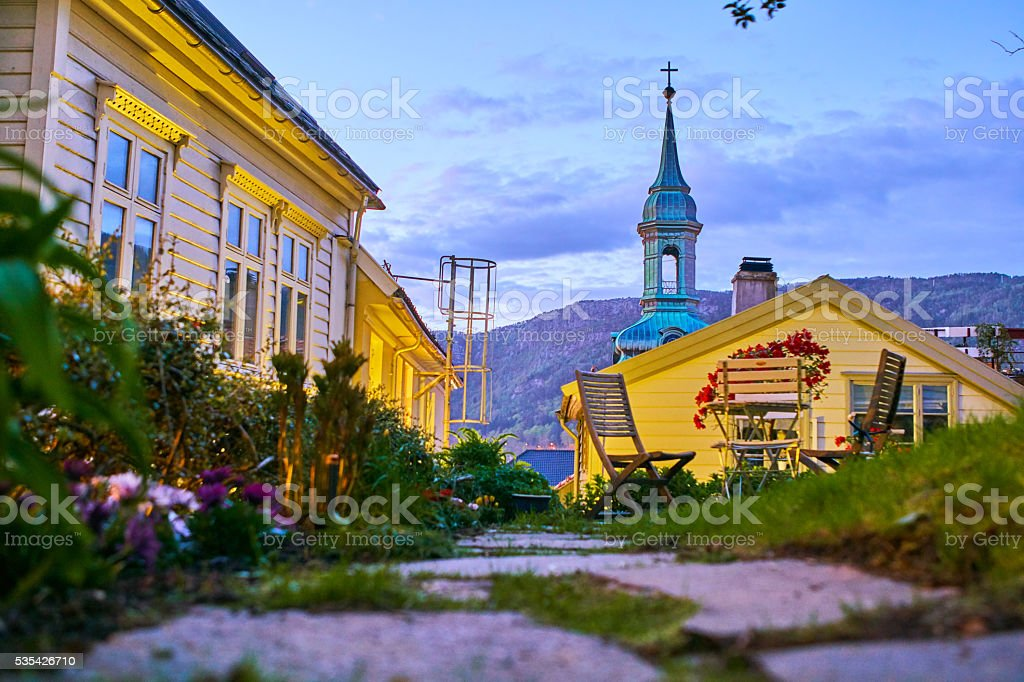 Bergen's houses and Church in the dawn stock photo