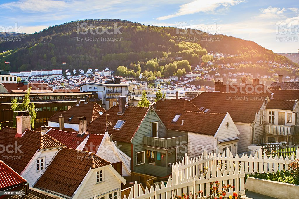 Bergen's Houses in Springtime stock photo