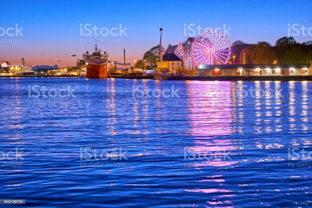 Bergen's port sunset in springrtime stock photo