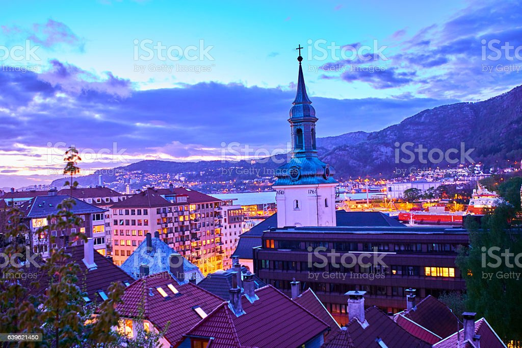 Bergen's uncomplete night in springtime stock photo