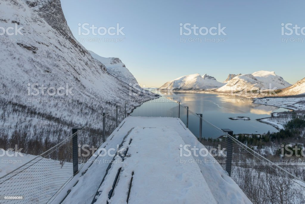 Bergsfjorden winter view on Senja island in Northern Norway stock photo