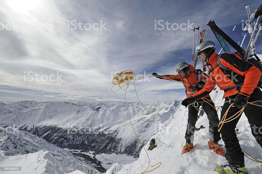 bergsteiger beim abseilen royalty-free stock photo