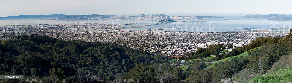 Berkeley, California with San Francisco and Oakland in the Background stock photo
