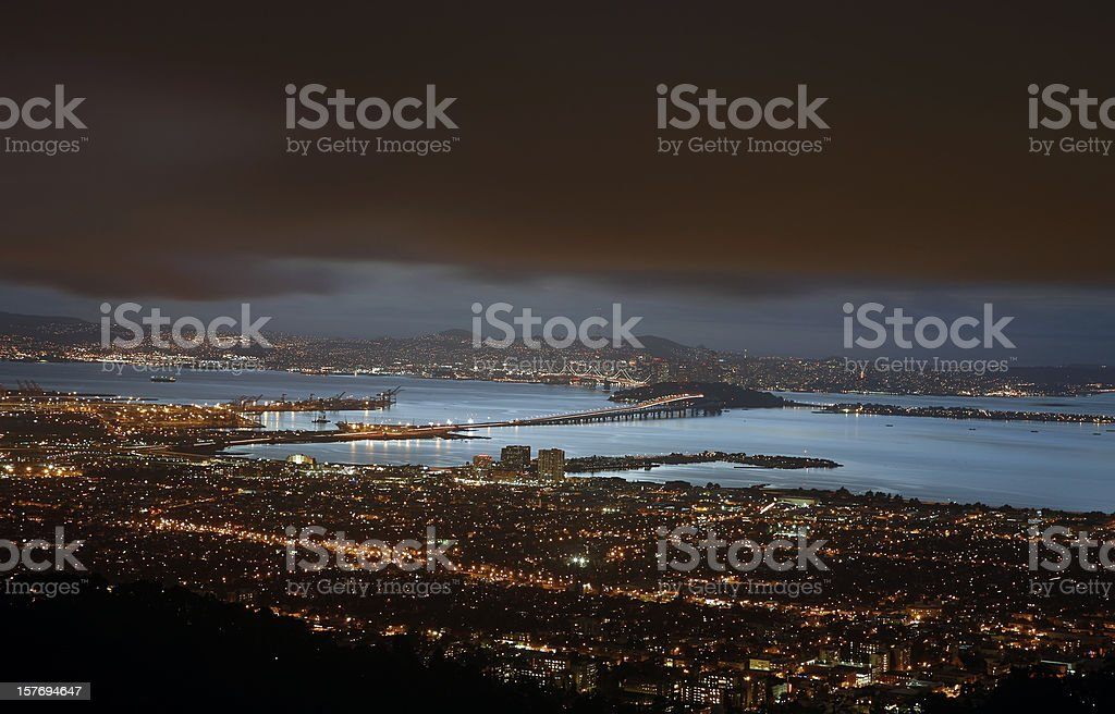 Berkeley,Bay Bridge And San Francisco Lights At Night stock photo