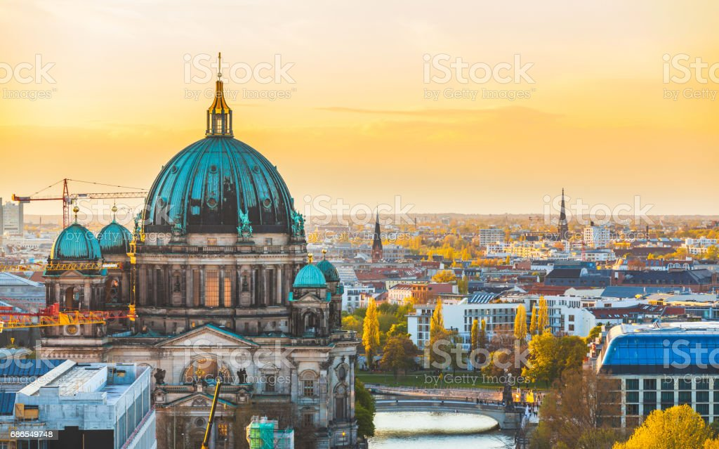 Berlin aerial view at sunset stock photo