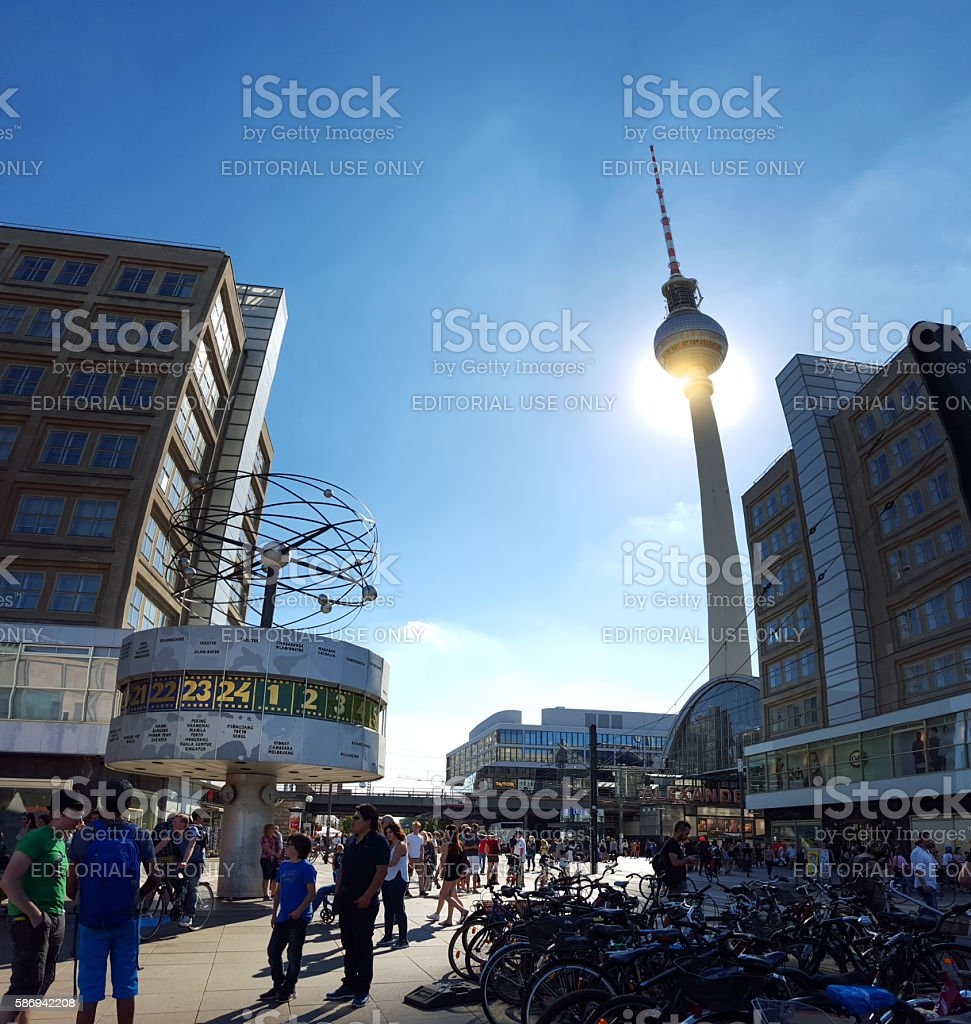 Berlin Alexanderplatz - fisheye effect of television tower and building stock photo