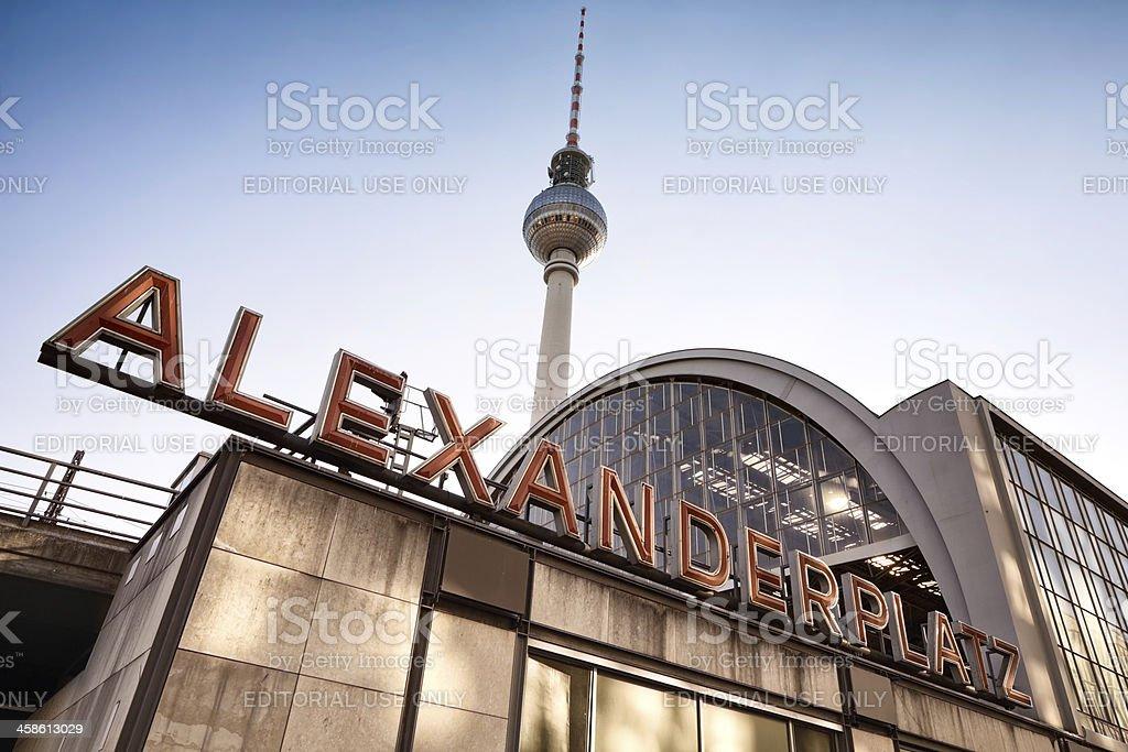 Berlin Alexanderplatz Train Station sign Horizontal royalty-free stock photo