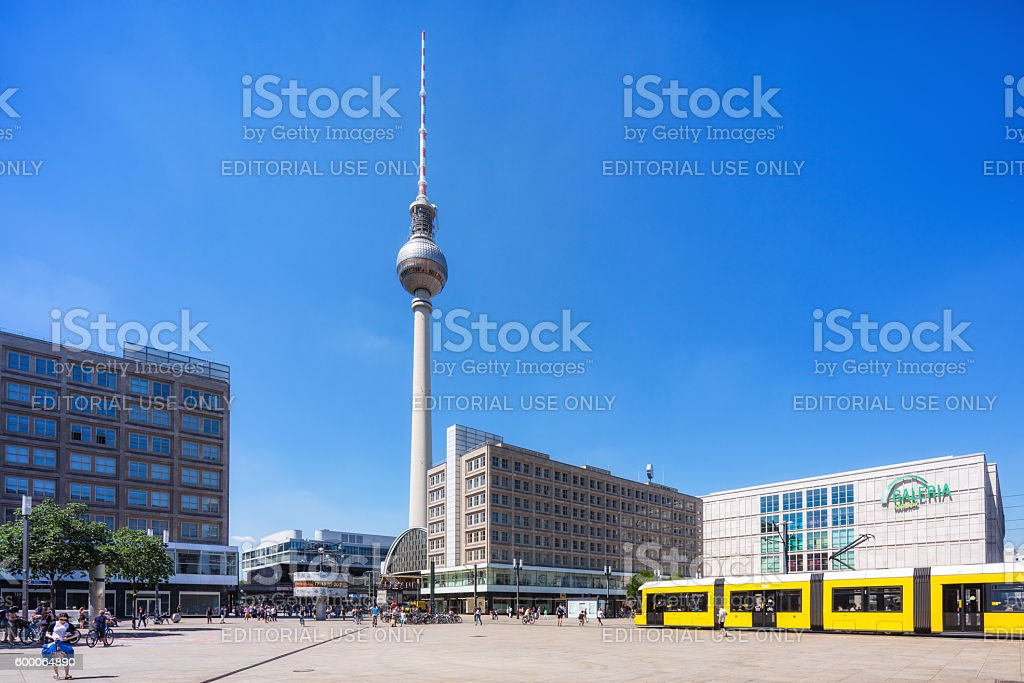 Berlin Alexanderplatz with yellow tram in Mitte, Berlin, Germany stock photo