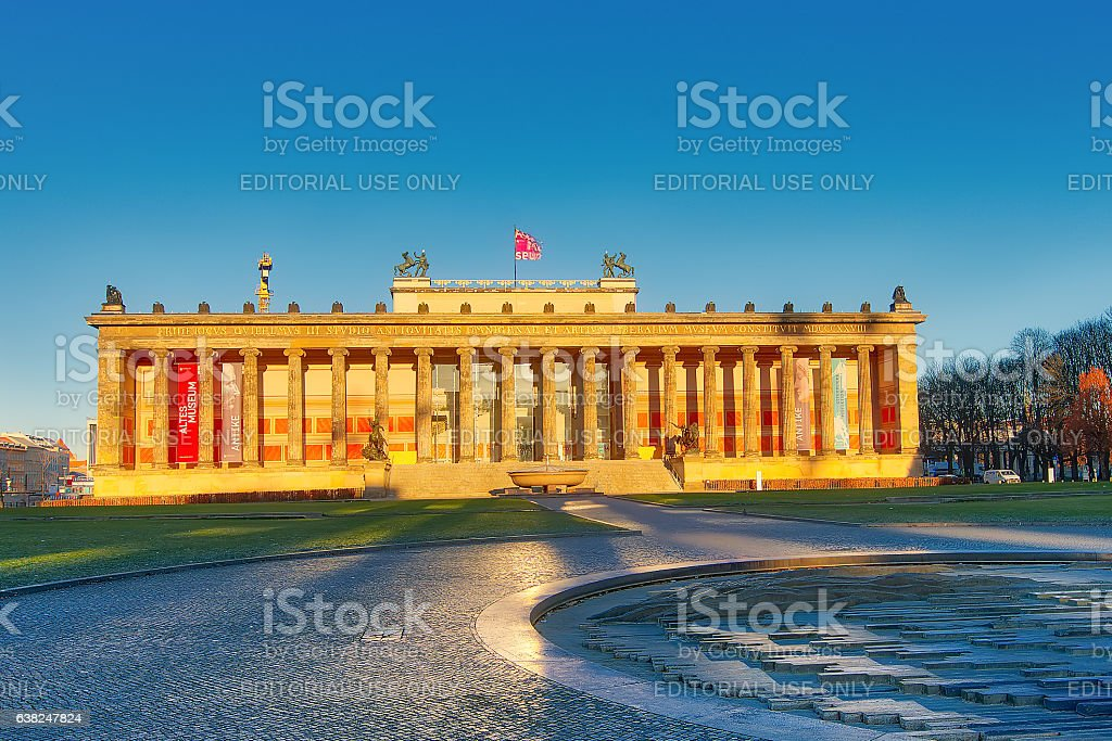 Berlin Altes Museum Lustgarten the first lights of the sun stock photo