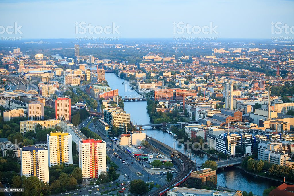 Berlin at the sunset stock photo