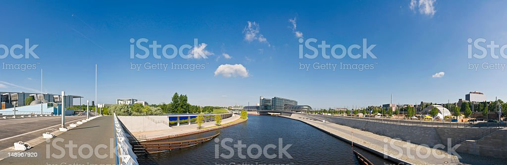Berlin blue sky banks of the Spree royalty-free stock photo