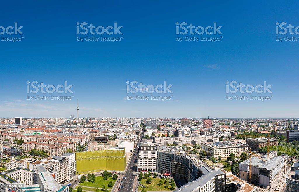 Berlin blue sky cityscape stock photo